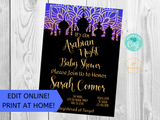 Arabian Night Baby Shower Invitation Printable
