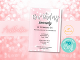 Pink Aesthetic Birthday Party Invitation for Girls, DIY Edit and Print