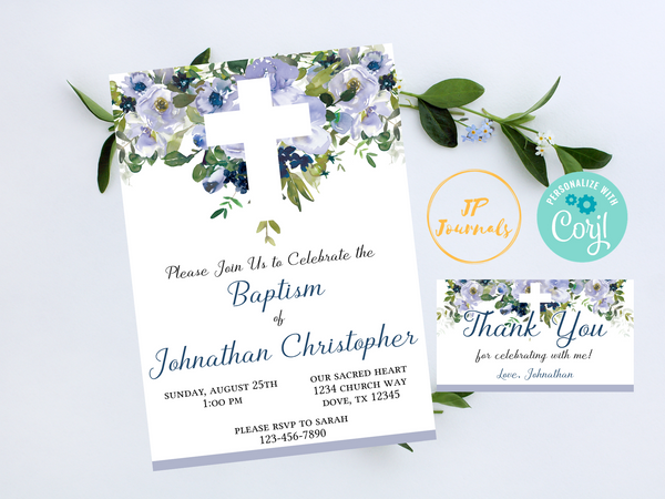 Baby Boy Baptism Invitation - Blue and White Watercolor Flowers