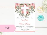 Printable Girl Baptism Invitation Template Blush Pink Watercolor Flower