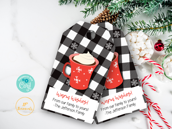 Hot Cocoa Printable Gift Tags - Christmas Hot Chocolate Gift Labels - DIY Personalized - Bonus Direction Tag Included - Edit and Print