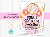 Editable Donut Birthday Party Invitation Template - Pink and Gold for Girls