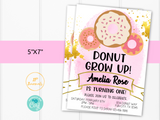 Editable Donut Birthday Party Invitation Template - Pink and Gold for Girls- Donut Grow Up - Edit & Print - Printable Invitation