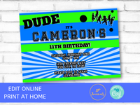 Dude Birthday Party Invitation Template - Perfect for Boys who Love Sports!