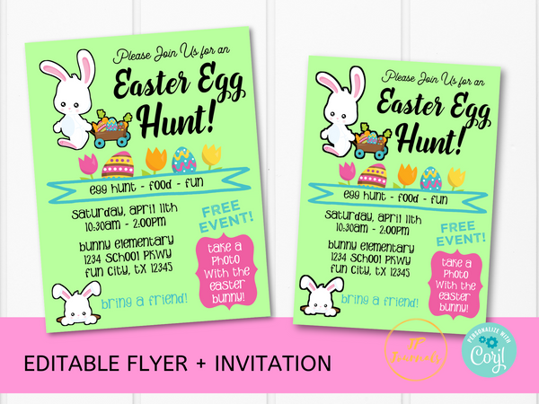 Easter Egg Hunt Invitation Template - Printable Invite and Flyer - Edit and Print DIY - Church HOA School Office Community Events
