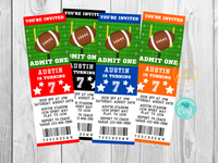 Printable Football Party Invitation Ticket Template