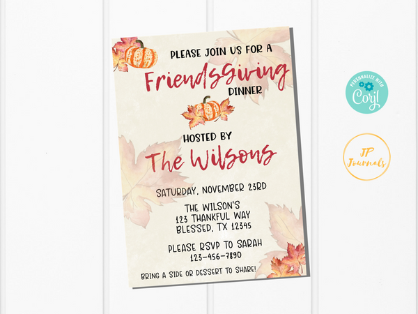 FriendsGiving Printable Invitation Template