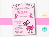 Pink Goat Birthday Party Invitation Template