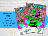 Fresh Hip Hop 90s Style Birthday Party Invitation - Graffiti Hip Hop Rap Music Retro Vintage 90s Party - Printable Party Invitation