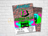 Fresh Hip Hop 90s Style Birthday Party Invitation