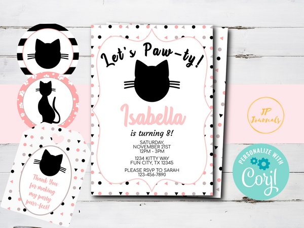 Kitty Cat Paw-ty Birthday Party Invitation Template, Kitten Party Birthday Party Invitation for Girls, Black White and Pink