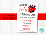 Ladybug Birthday Party Invitation Template -Little Lady Ladybug Birthday Invite for Girls - Edit & Print - Printable Invitation