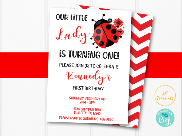 Ladybug Birthday Party Invitation Template -Little Lady Ladybug Birthday Invite for Girls