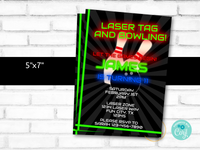 Laser Tag and Bowling Birthday Party Invitation Template - DIY Edit & Print - Printable Invitation - Laser Tag Bowling Party for Boys