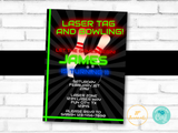 Laser Tag and Bowling Birthday Party Invitation Template