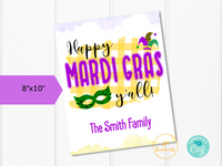 Printable Mardi Gras Sign - Door Hanger - Wall Art