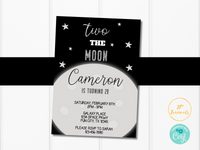 Editable Two the Moon 2nd Birthday Party Invitation Template for Boys and Girls