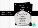 Editable Two the Moon 2nd Birthday Party Invitation Template for Boys and Girls - Edit Online Today - Print at Home - Space Birthday Party