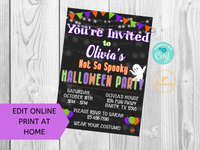 Cute Not So Spooky Halloween Birthday Party Invitation Printable