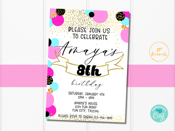 Printable Girl Birthday Party Invitation Template - Edit Online Print at Home - Pink Gold Teal Black