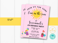 Fun in the Sun Summer Birthday Party Invitation for Girls- DIY Edit Printable Invite - Download Print! Pool Waterpark Splash Popsicle Party