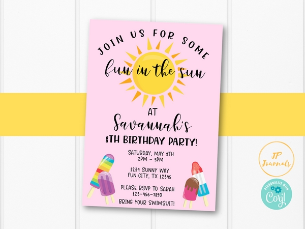 Fun in the Sun Summer Birthday Party Invitation for Girls