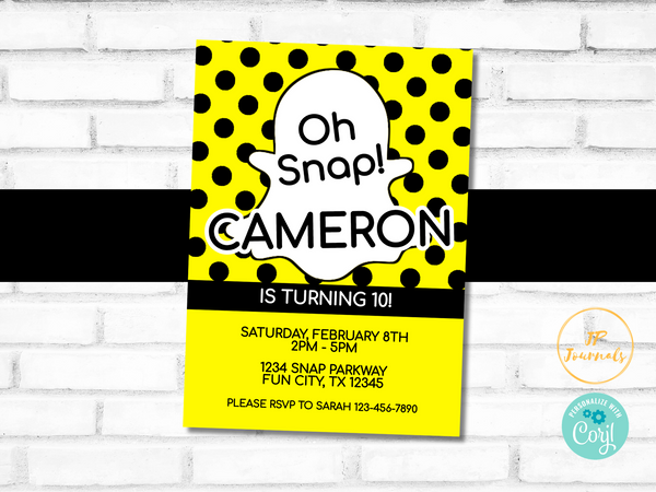 Oh Snap Birthday Party Invitation Template