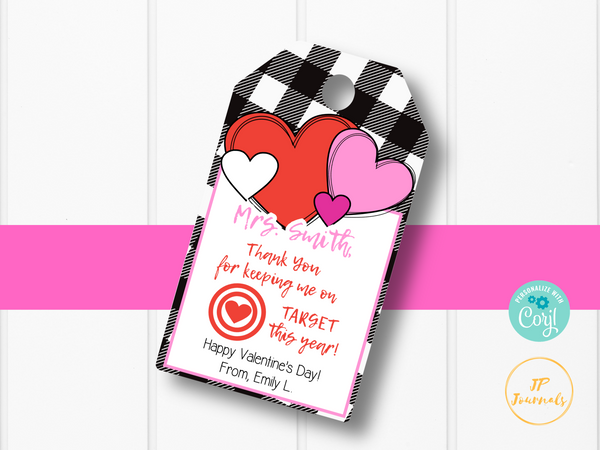 Printable Teacher Valentine's Day Gift Card Tag Label - Keeping Me On Target
