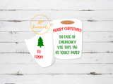 Funny Merry Christmas Gift Tags, Toilet Paper Gift Tags for Christmas Gifts, Quarantine Christmas Gift Tag