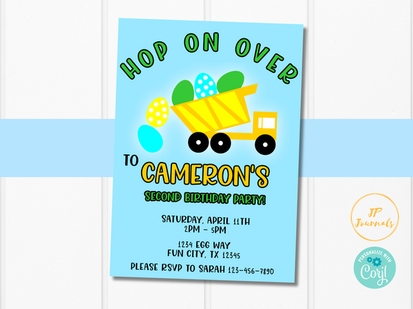 Easter Birthday Party Invitation for Boys - Easter Egg Dump Truck