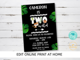 Two Wild 2nd Birthday Party Invitation - DIY Edit Printable Invite - Download and Print! 2 Wild Jungle Animal Safari Theme