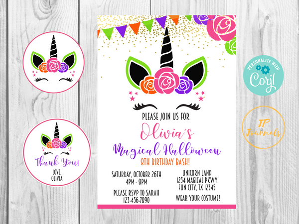 Halloween Unicorn Birthday Party Invitation - DIY Printable