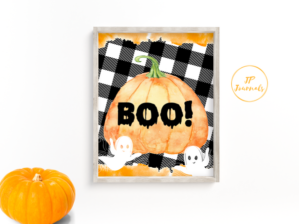 Halloween Decor - Printable Wall Art - Black Buffalo Plaid