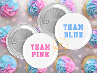 Baby Gender Reveal Party Pin Buttons, Team Pink Team Blue Pin Back Button Party Favor