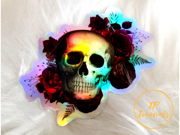 Holographic Skull and Roses Sticker