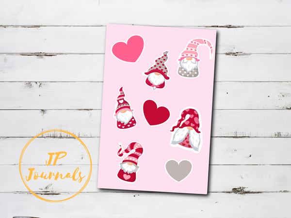 Cute Valentine's Day Gnomes Sticker Sheet
