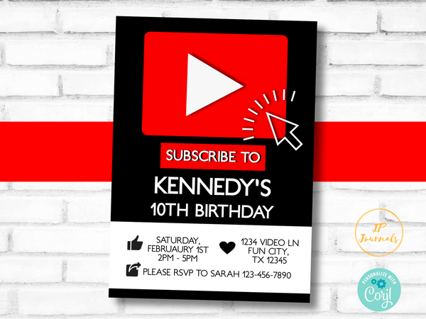 Online Video Theme Birthday Party Invitation Template