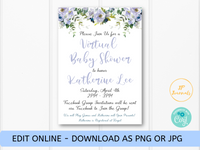 Virtual Baby Shower Invitation for Baby Boy - Blue Floral Flowers - Digital Invite E-Vite to Email, Text or Post to Social Media