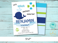 Whale First Birthday Party Invitation