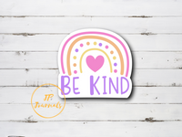 Cute Rainbow Doodle Be Kind Sticker, Laminated Die Cut Pastel Rainbow Sticker
