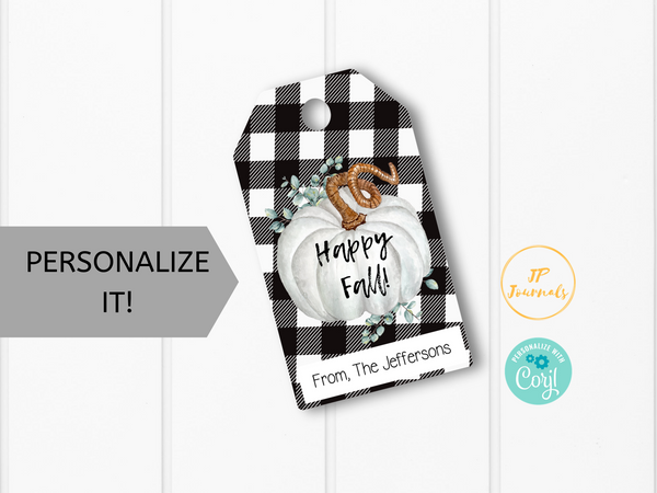 Printable Fall Treat Tags - Happy Fall Gift Favor Labels - Personalized - Black Buffalo Plaid and White Pumpkin - Autumn Harvest