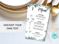 Printable Eucalyptus Greenery Menu Template for Weddings, Bridal Showers, Brunch Party