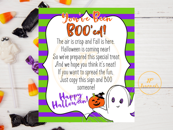 You've Been Boo'ed Poem Printable - Happy Halloween! Instant Download - We've Been Bood