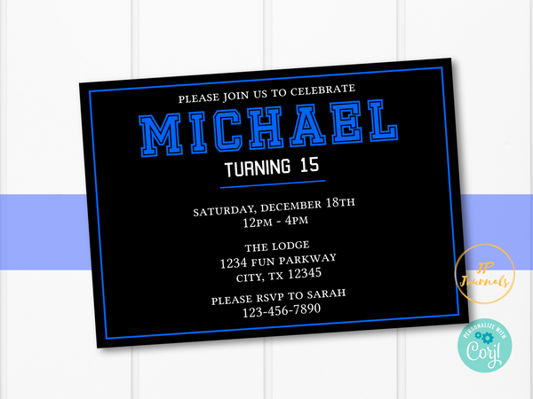 Teen Boy Birthday Party Invitation - Sporty Tween Invite
