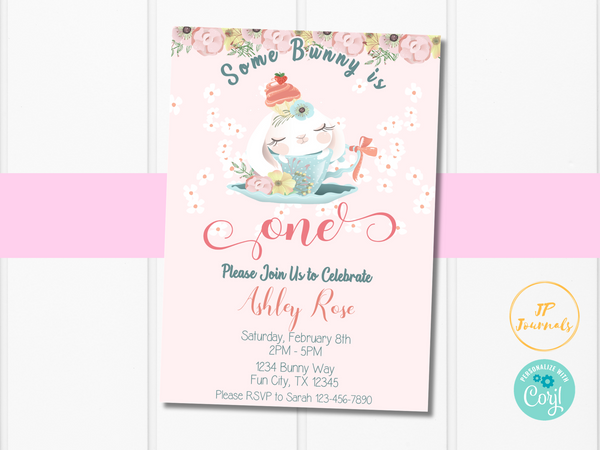 Easter First Birthday Party Invitation - Printable Bunny Rabbit Invite for Girl Turning One - Some Bunny is One