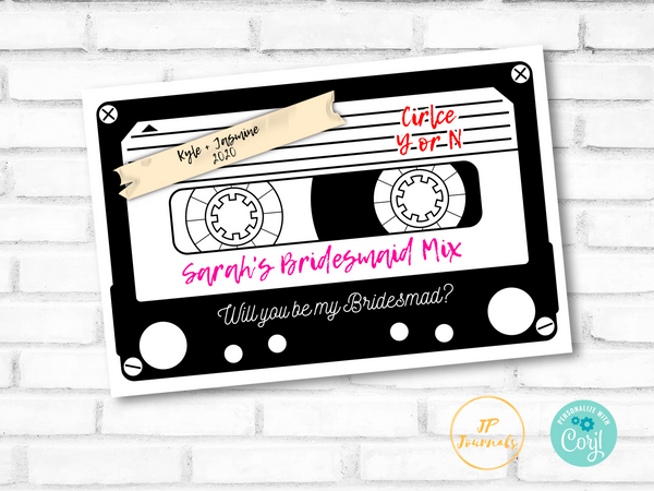 90s Themed Printable Bridesmaid Proposal Card - Vintage Cassette Tape