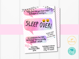 Sleep Over Invitation for Girls - Printable Slumber Party Invite - Chat Text Teen Tween