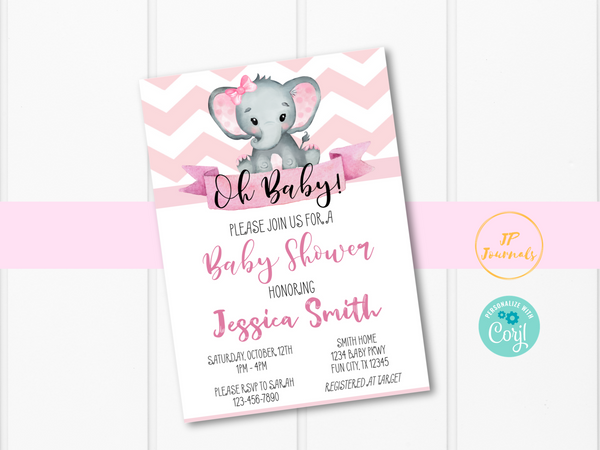 Pink Elephant Baby Shower Invitation Template
