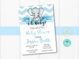 Light Blue Elephant Baby Shower Invitation Template