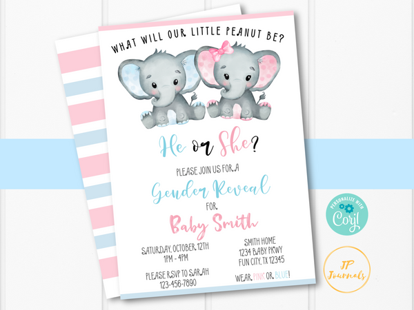 Elephant Gender Reveal Party Invitation Template - Pink and Blue